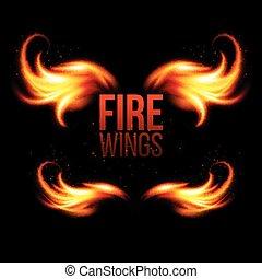 schwarz, flamme, flügeln, abbildung, fire.
