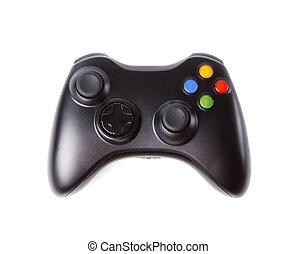 schwarz, freigestellt, gamepad, white.