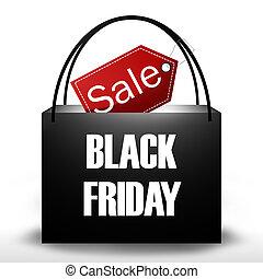 schwarz, freitag, einkaufstüte, design
