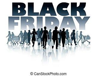 schwarz, freitag, shoppen