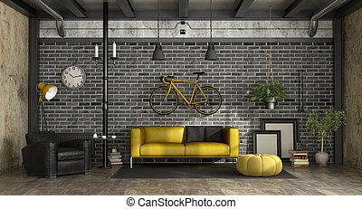 Wohnzimmer, gelber , sessel. Wohnzimmer, raum, modern, -, gelber ...