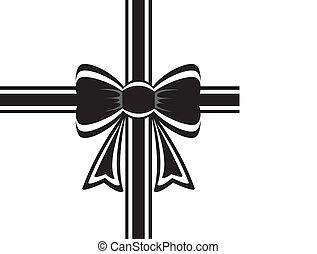 schwarz, geschenkband, schleife