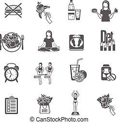 schwarz, gewicht, satz, diät, locker, heiligenbilder