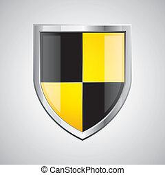 schwarz, glänzend, gelber , schutzschirm