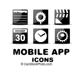 schwarz, glänzend, quadrat, beweglich, app, heiligenbilder