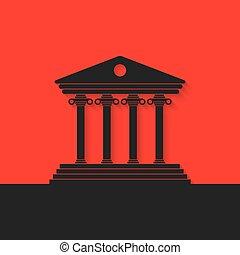 schwarz, griechischer , kolonnade, auf, roter hintergrund