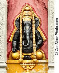 schwarz, hindu, elefant, ganesh