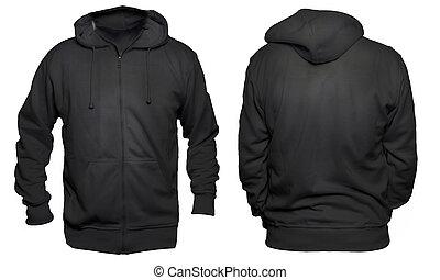 schwarz, hoodie, verhöhnen, auf