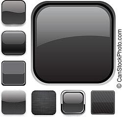 schwarz, icons., app, quadrat
