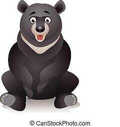 schwarz, karikatur, bär