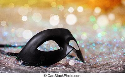 schwarz, karneval schablone, auf, bokeh, hintergrund