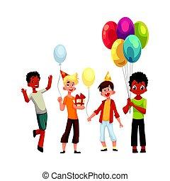 schwarz, kaukasier, knaben, kinder, mit, luftballone, geburstag, hüte, geschenke