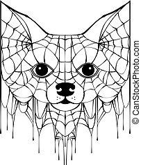 schwarz, kopf, silhouette, hund, spiderweb