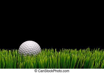 schwarz, kopie, bild, raum, hintergrund, kugel, weißes, horizontal, grün, golfen, gras