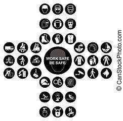 schwarz, kreuzförmig, gesundheit sicherheit, ikone, sammlung