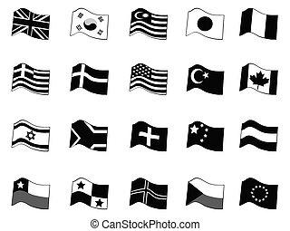 schwarz, land, flaggen, ikone, satz