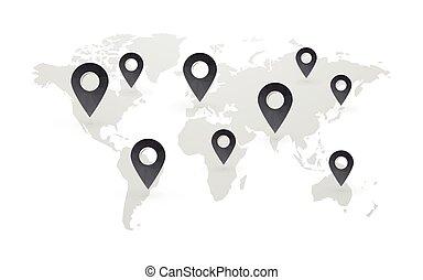 schwarz, landkarte, zeiger, mit, weltkarte, freigestellt