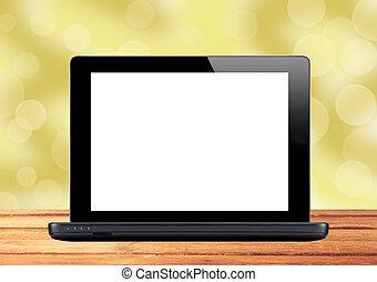 schwarz, laptop, auf, holztisch, aus, unscharfer hintergrund