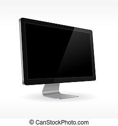 schwarz, lcd, monitor