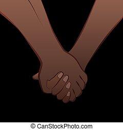 schwarz, liebe, paar, hände halten
