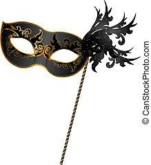 schwarz, maske, gold