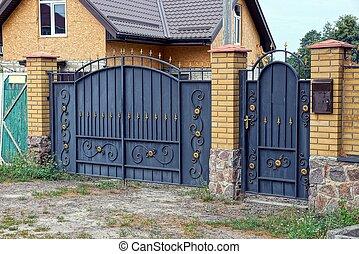Tore Eingang Satz Zaun Metall Schwarz Zufahrt Sicherheit