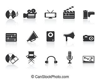 schwarz, multimedia, werkzeuge, ikone