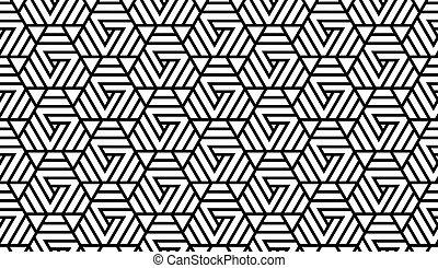 schwarz, muster, weißes, geometrisch