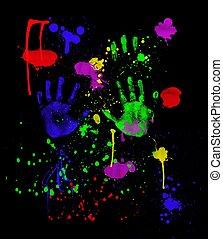 schwarz, neon, fingerpainting