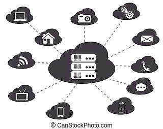 schwarz, networking, wolke, hintergrund