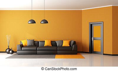 Orange, lebensunterhalt, schwarz, zimmer. Wohnzimmer, sofa,... Stock ...