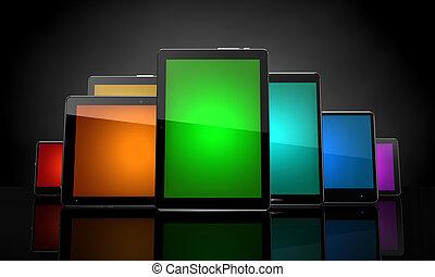 schwarz, polster, touchscreens, bunte, digital