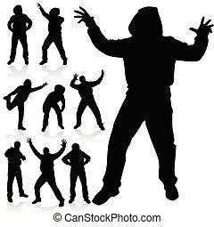 schwarz, posen, verschieden, silhouette, mann