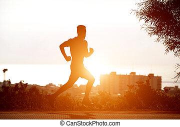 schwarz, rennender , sonnenuntergang, junger mann