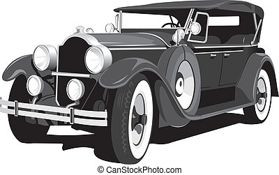 schwarz, retro, auto
