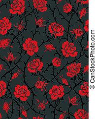 schwarz, roses., seamless, muster
