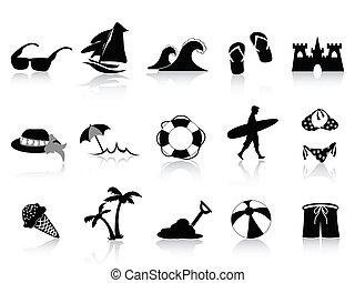 schwarz, sandstrand, ikone, satz