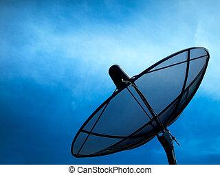 schwarz, satellit
