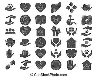 schwarz, satz, spende, icons., freiwillig, wohltätigkeit