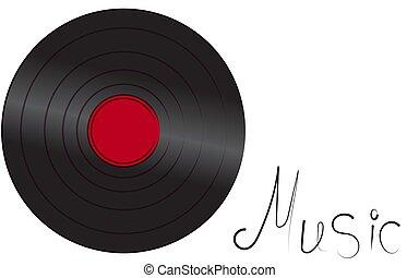 schwarz, schillernd, vinyl, musikalisches, analog, retro, altes , antikes , hüfthose, weinlese, grammophon, aufzeichnen, für, grammophon, und, inschrift, musik, weiß, hintergrund, auf, der, left., vektor, abbildung