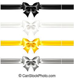 schwarz, seide, verbeugungen, bänder, gold