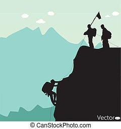 schwarz, silhouette, bergsteiger, gestein