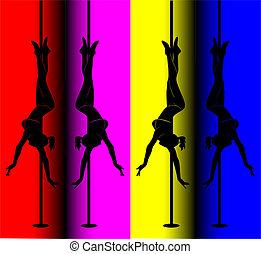 schwarz, silhouette, von, a, sexy, m�dchen, tanzen