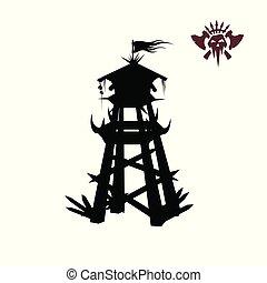 schwarz, silhouette, von, orcs, tower., fantasie, object., bogenschütze, mittelalterlich, watchtower., spiel, festung, ikone