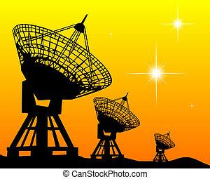 schwarz, silhouetten, radars