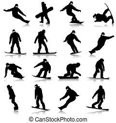 schwarz, silhouetten, satz, snowboarders, weiß, hintergrund., vektor, illustration.