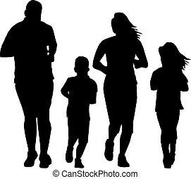 schwarz, silhouetten, von, rennender , familie