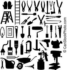 schwarz, silhouetten, von, verschieden, arten, von, der, tool., a, vektor, abbildung