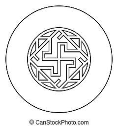 schwarz, slawisch, ikone, stil, farbe, kreis, zeichen, vektor, varangian, symbol, valkyrie, abbildung, valkiriya, runder , grobdarstellung, wohnung, bild