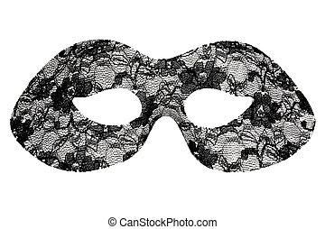 schwarz, spitze, maskerade- schablone